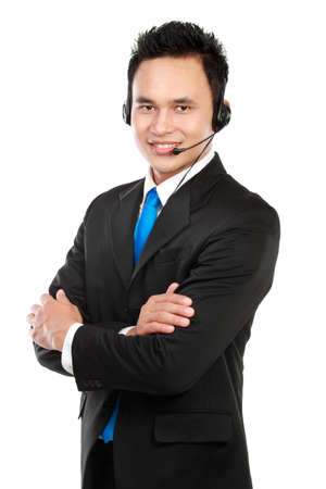 Portrait of handsome customer service isolated on white background Stock Photo - 12799211