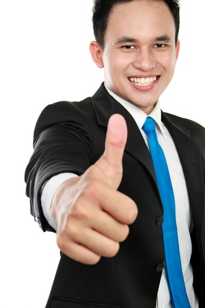 happy business man showing thumbs up sign photo