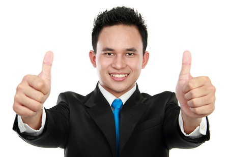 happy business man showing two thumbs up sign photo