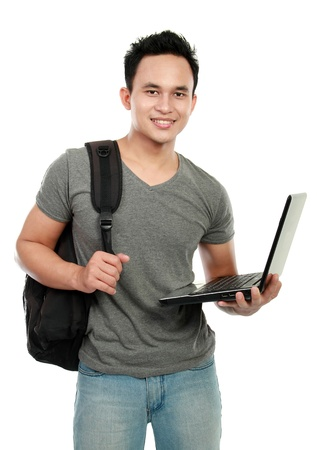 students fun: Happy smiling college student with laptop isolated on white background