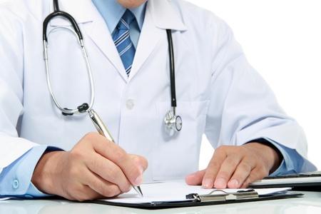 Office uniforms: gesto de la mano del m�dico escribir una nota