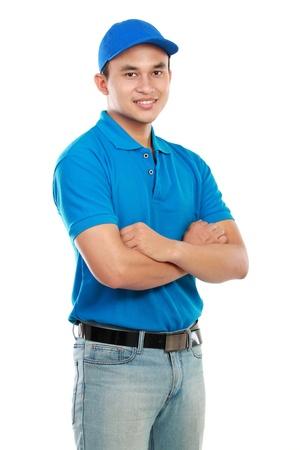 facteur: portrait d'un jeune homme de livraison isol� sur fond blanc Banque d'images