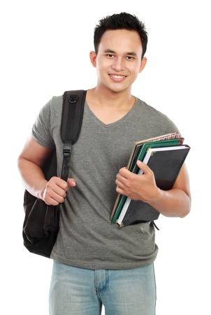 Happy smiling college student isolated on white background photo