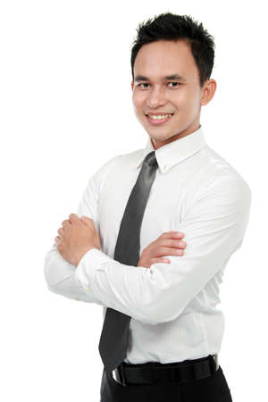 Portrait of a successful asian business man isolated over white background Stock Photo - 12809724