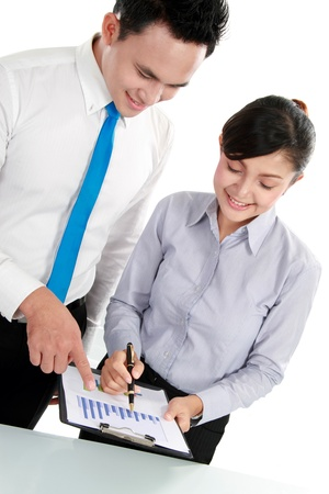 woman bar: Business man and woman discussing bar chart