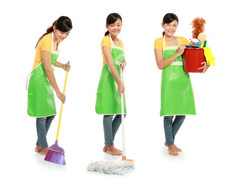 housework: three different action of woman doing her housework Stock Photo