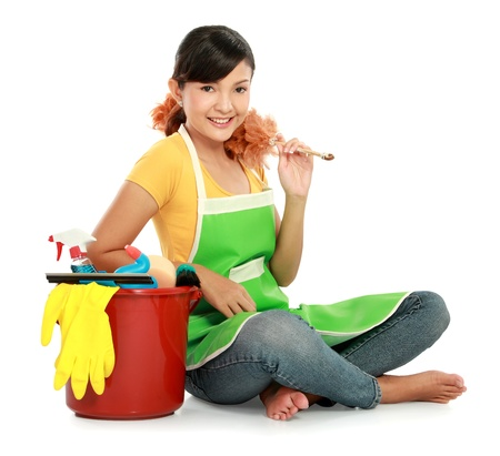 bright housekeeping: portrait of beautiful asian woman relaxing with many cleaning equipment
