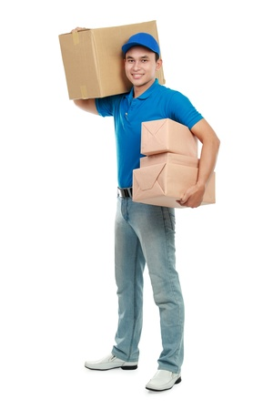 parcels: delivery service in blue uniform with lots of packages isolated on white