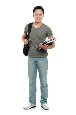 students fun: portrait of Happy smiling college student with book and bag isolated on white background
