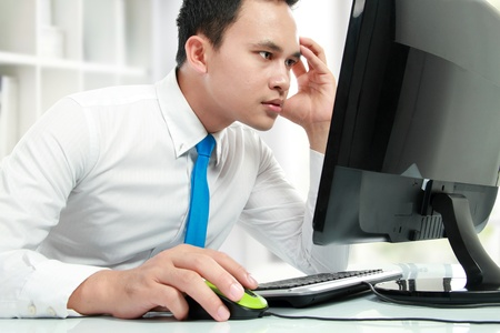 close up portrait of stress Business man working with his computer