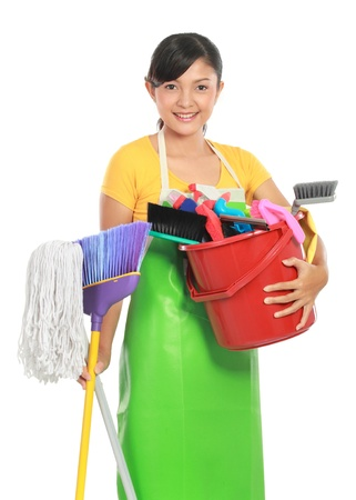 bright housekeeping: portrait of beautiful asian woman with many cleaning equipment
