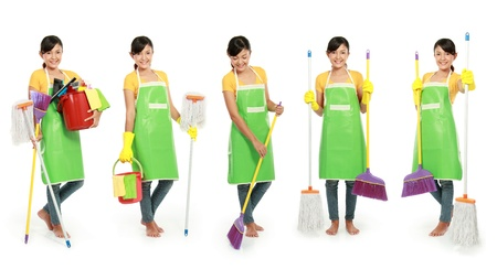 portrait of beautiful woman with cleaning tool isolated over white background