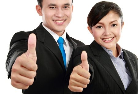promotion girl: Portrait of a woman and man office worker showing thumb up