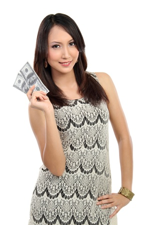 us money: woman showing  money isolated on white background