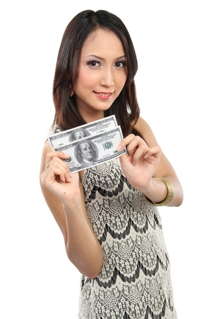 woman showing  money 100 dollar bill smiling on white background Stock Photo - 12991760