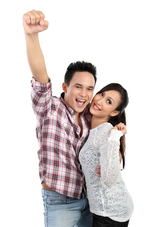healthy couple: Portrait of a beautiful young happy smiling couple isolated on white background Stock Photo