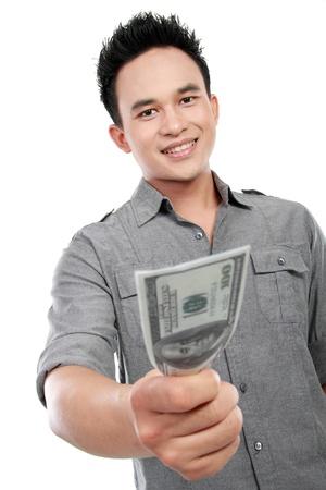 man showing  money isolated on white background photo