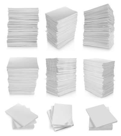 collection of stack paper in white background photo