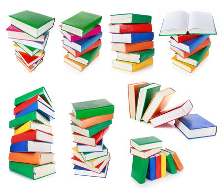 collection of Stack of colorful books isolated over white background photo