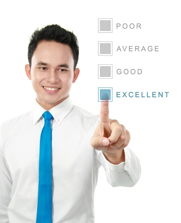 questionaire: hombre de negocios, haga clic en el bot�n en la pantalla de la tecnolog�a moderna. concepto de la votaci�n Foto de archivo