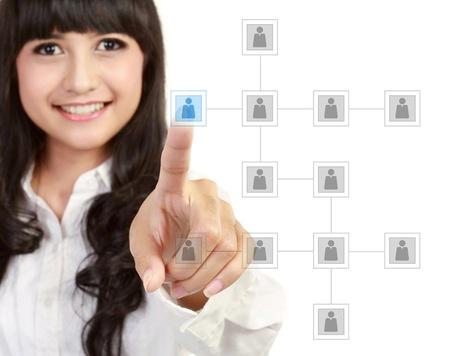 job recruitment: Businesswoman looking for business partner on modern technology screen