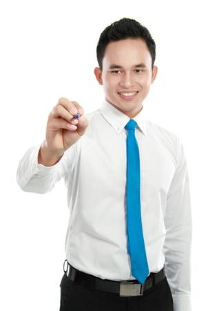 schreiben: m�nnlichen Arbeitnehmer mit Marker-Schrift auf dem Bildschirm �ber einem wei�en Hintergrund isoliert Lizenzfreie Bilder