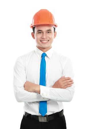 Portrait of confident contractor isolated on white background Stock Photo - 13157435