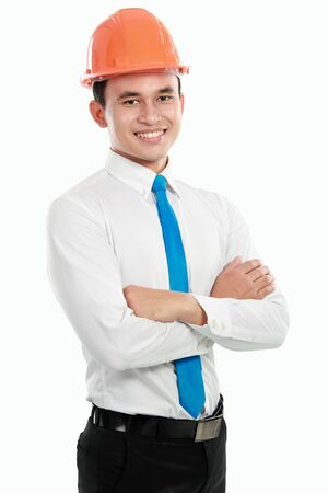 confident Handsome young asian man architect isolated over white background Stock Photo - 13157440