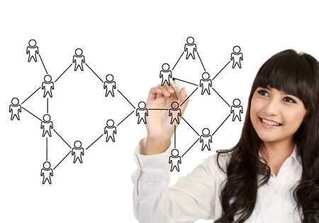 business woman hand writing social network on whiteboard Stock Photo - 13157451
