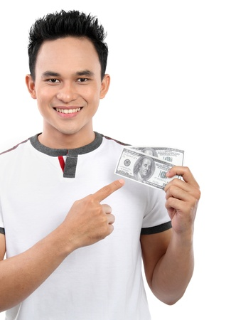 happy man showing  money isolated on white background