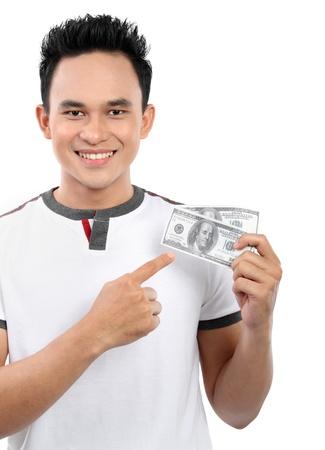 man holding money: happy man showing  money isolated on white background