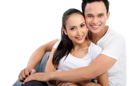 man face close up: portrait of asian happy couple smiling isolated over white background Stock Photo