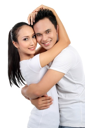 man face close up: portrait of asian happy young couple smiling looking at camera isolated on white