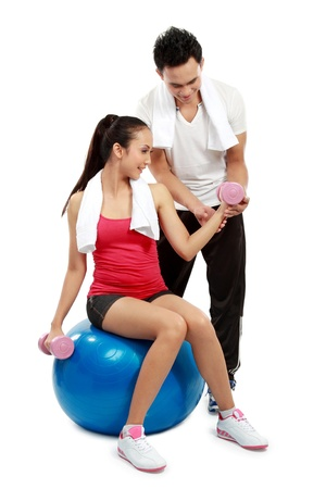 man and woman doing sport isolated over white background Stock Photo