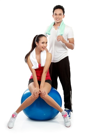 man and woman doing exercise isolated over white background