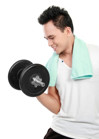 healthy fitness man exercising with dumbbells isolated on white background Stock Photo - 13409172