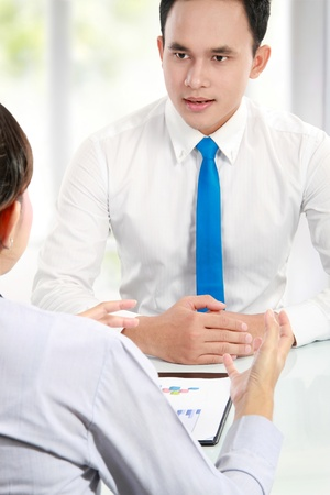 business man make a job interview with applicant Stock Photo - 13516304