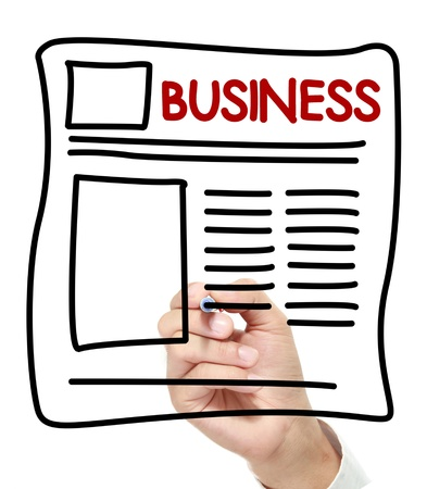 gesture of hand draw business News. Business Newspaper hand drawn on white board Stock Photo - 13528171