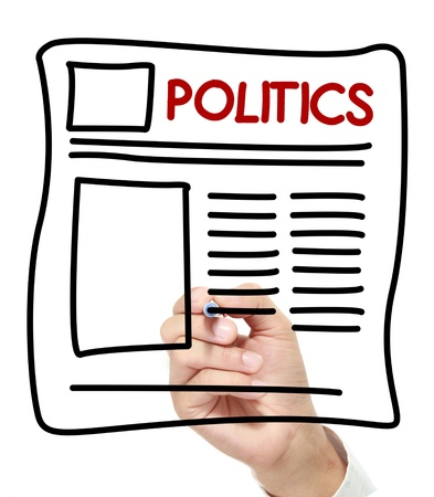 print media: gesture of hand draw politics News. politics Newspaper hand drawn on white board Stock Photo