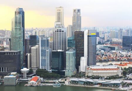 beautiful view of singapore city in the evening photo