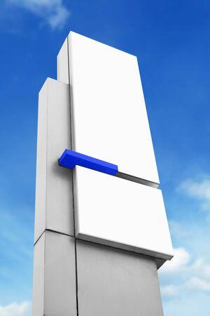 street name sign: blank advertising corporate billboard sign under blue sky