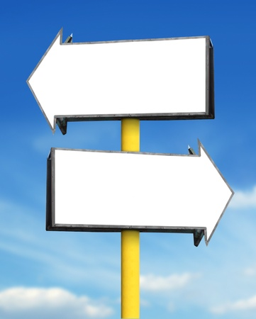 right arrow: blank white arrow sign board in blue sky background Stock Photo