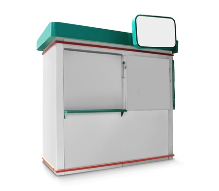 single trade or promo counter kiosk against white background photo