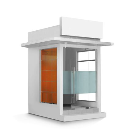 ATM booth or glass construction building against white background photo