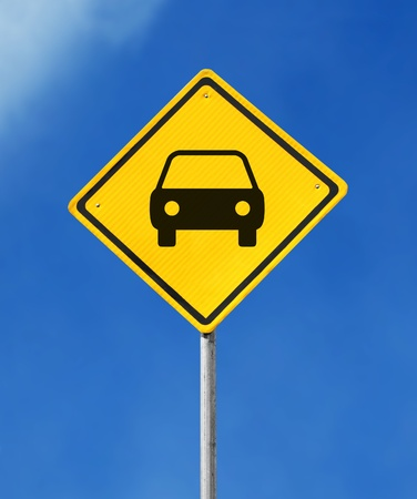 yellow car park sign on sky background photo
