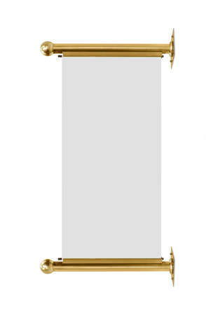 gold metal advertising banner isolated on white background photo