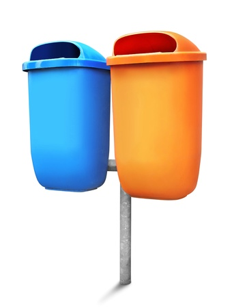 Two type of public trash can isolated on white background photo