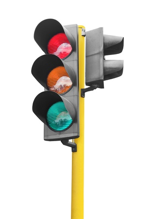 stop and go light: Real traffic light isolated on white background Stock Photo