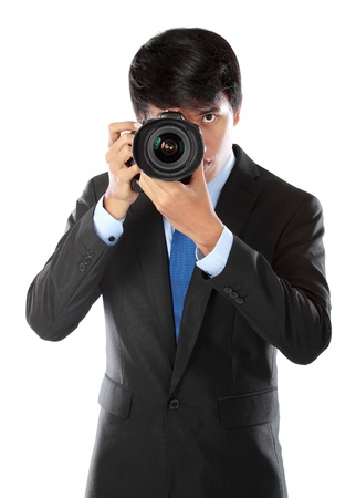 portrait of asian professional photographer ready to take some photo Stock Photo - 14323452