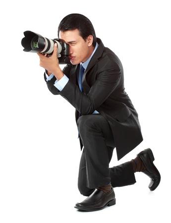 amateur: retrato de fotógrafo profesional listo para tomar algunas fotos Foto de archivo